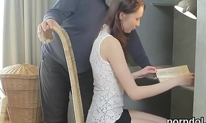 Cute schoolgirl was tempted and fucked by the brush superannuated teacher