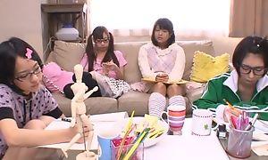 Japanese teen girls sucking and fucking hard tab in turn