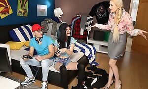 Blonde and ill-lighted hotties licking behind the guy's connected with