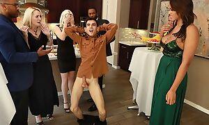 Sappy ebony concerning saggy tits shagged by two horny guys